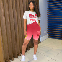 Pink Letter Print Gradient Two Piece Short Sets AWYF-L718