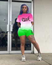 PINK Letter Gradient Casual Sports T-shirt Shorts Two Piece Sets DSF-8012