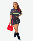 Sexy LUCKY LABEL Letter Round Neck Short Sleeve Mini Dress YMF-6086
