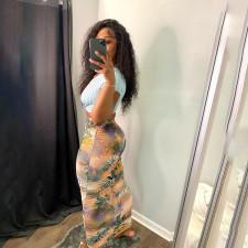 Floral Print Slim Long Skirt MIF-9047