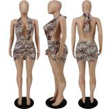 Sexy Leopard Halter Backless Club Dress APLF-5033