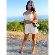 Solid Cami Top And Shorts Two Piece Suits DDF-8087