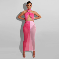 Sexy Mesh Halter Maxi Dress With Underpants DDF-8033