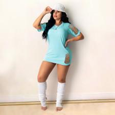 Plus Size Solid Short Sleeve Hollow Mini Dress DDF-8088