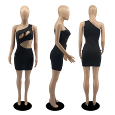 Sexy One Shoulder Hollow Out Club Dress DDF-8081