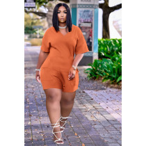 Solid V Neck Short Sleeve Casual Two Piece Sets DDF-8086