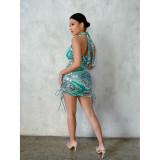 Paisley Print Halter Backless Club Dress DDF-8089