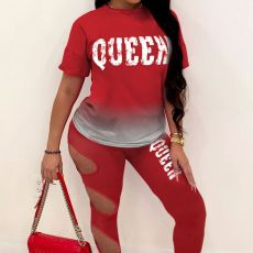 Queen Letter Gradient Short Sleeve Hole Pant 2 Piece Sets MLF-8101