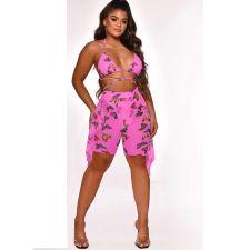 Butterfly Print Swimwear Mesh Bra Top Ruffled Shorts 2 Piece Sets ORY-5188