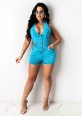 Denim Halter Backless Jeans Romper MEM-8343
