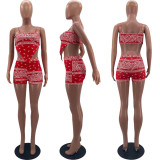 Sexy Printed Bellyband Top And Shorts 2 Piece Sets WZ-8369