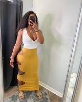 Casual Sleeveless Tank Top+Hole Long Skirt 2 Piece Sets MN-9291