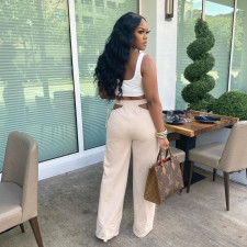 Solid Hollow Out Wide Leg Pants TR-1126