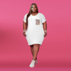 Plus Size Leopard Pocket V Neck T Shirt Dress YFS-3689