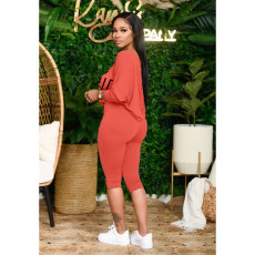 Letter Print Oblique Shoulder Capri Pants 2 Piece Suits YFS-3680