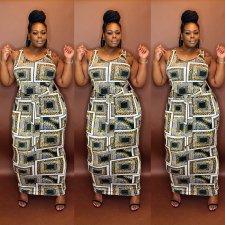 Plus Size Casual Printed Sleeveless Maxi Dress MOF-6617