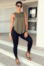 Casual Sleeveless Top+Skinny Pants 2 Piece Suits RUF-8915