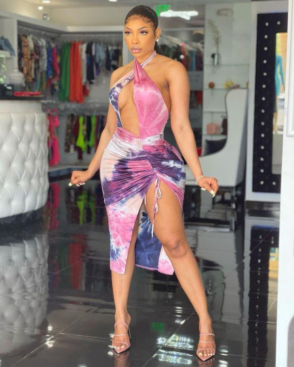Sexy Tie Dye Halter Backless Club Dress RUF-8916