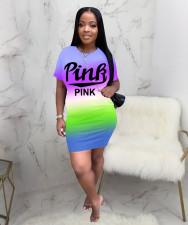 Pink Letter Print Gradient Short Sleeve Dress JH-220