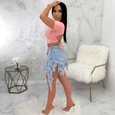 Plus Size Denim Embroidery Tassel Jeans Shorts HSF-2276-1