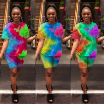 Casual Tie Dye Print Two Piece Shorts Set GS-2027