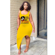 Casual Printed Sleeveless Split Slim Long Dress YIY-5274