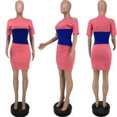 Contrast Color Short Sleeve Off Shoulder Mini Dress YJF-8377
