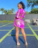 Mesh Printed Slim Sexy Beach Casual Skirt Sets MEM-8348