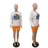 Plus Size Cartton Print Long Sleve 2 Piece Shorts Set ABF-6659