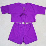 Solid Color Casual Fashion Plus Size Half Sleeve Top Shorts 2 Piece Sets CYA-1452