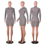 Sexy Mesh Plaid Print Long Sleeve Mini Dress YNB-7161