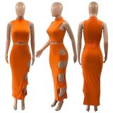 Solid Sleeveless Hole Long Skirt Two Piece Sets QY-5240