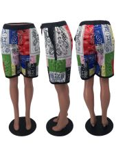 Casual Printed Mid Waist Pocket Shorts OXF-8036