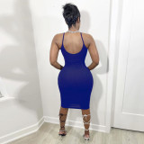 Solid Color Sexy Sling Midi Dress SMF-8085