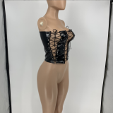 Sexy Hollow Tie Up PU Leather Wrap Chest Top GLF-8071