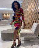 Multicolor Printed Long Sleeve Lace Up Mini Dress YSU-8062