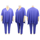 Plus Size Casual Solid Color  V-neck Top And Pants Two Piece Sets CYA-1442