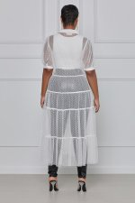Plus Size Sexy Mesh See Through Short Sleeve Long Dress QYF-5051