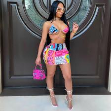 Sexy Printed Bra Top Mini Skirt 2 Piece Sets ARM-8260
