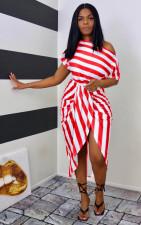 Plus Size Fashion Casual Striped Print Dress WAF-7166