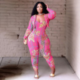 Sexy Printed Blazer Coat +Strap Jumpsuit 2 Piece Sets QSF-5071