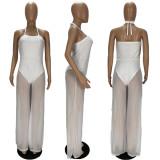 Plus Size Sexy Mesh Halter Neck Lace-up Wide-leg Jumpsuit XYF-9091