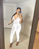 Sexy Mesh See Through Ruched Jumpsuit NIK-233