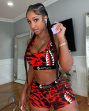 Sports Fitness Printed Tank Top And Shorts Two Piece Sets MOF-6619