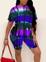 Tie-dye Printed Short Sleeve Shorts Home Casual  Two Piece Sets MUM-8085
