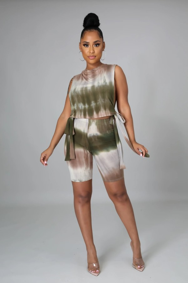 Fashion Casual Tie-dye Side Open Tie-Up Vest Shorts Suit RUF-8917
