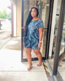 Fashion Plus Size Imitate Denim Print Casual Shorts Suit WAF-7168