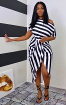 Plus Size Fashion Casual Striped Print Two Piece Sets WAF-7170