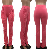 Solid Ruched Casual Long Pants OJS-9240