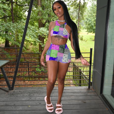 Paisley Print Tank Top And Shorts 2 Piece Sets MIL-211